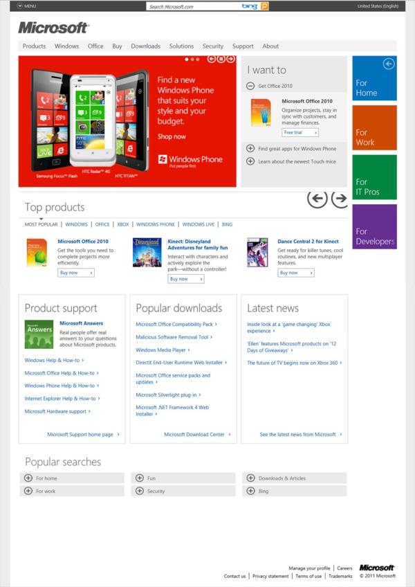 Microsoft.com Home Page December 2011